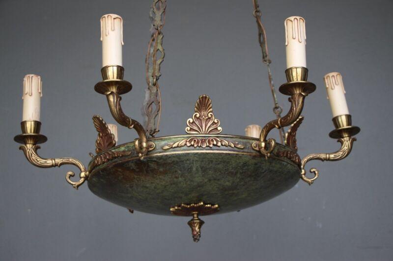 Big antique French Empire dish shaped ceiling light cast bronze chandelier 6 arm 9