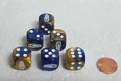 6 Dice *Boy Scout 3-Finger Salute* on 16mm Vortex Blue w//Gold Hand #1 /& Pips
