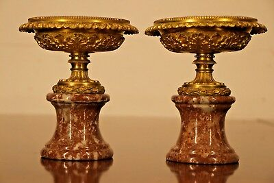 Antique French Empire sienna marble bronze urns vase Neoclassical Tazza original 9