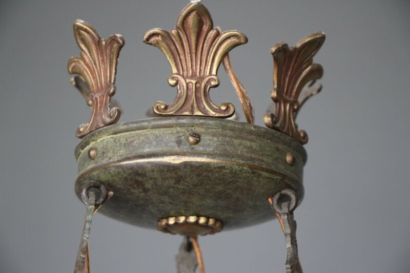Big antique French Empire dish shaped ceiling light cast bronze chandelier 6 arm 6