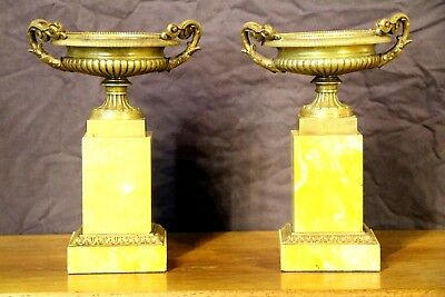 Antique French Empire sienna marble bronze urns vase Neoclassical Tazza original 4