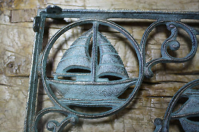 2 Cast Iron NAUTICAL SAIL BOAT Brackets Garden Braces Shelf Bracket PIRATES SHIP 3