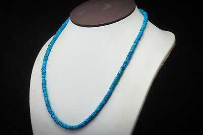 Wonderful Top Grade Antique Hieshi Natural Turquoise Beads Disc Egyptian Strand 4