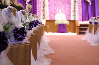 Purple wedding decorations chair bows pew bows satin church 2 of 4 purple wedding decorations chair bows pew bows satin church aisle decor junglespirit Gallery