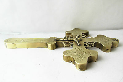 Antique Russian Orthodox  Large Blessing Cross Brass 19th century 10