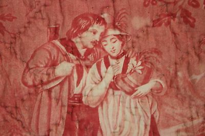 Antique French toile de Normandy c 1820 red quilted textile linen backed 10