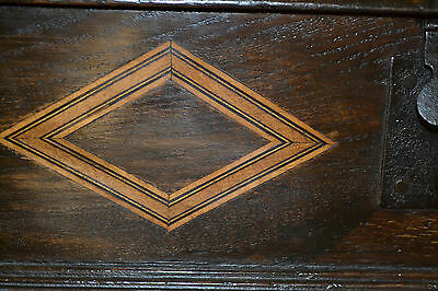 Fine quality antique 18th century Oak bible box with inlay on later stand, c1760 5