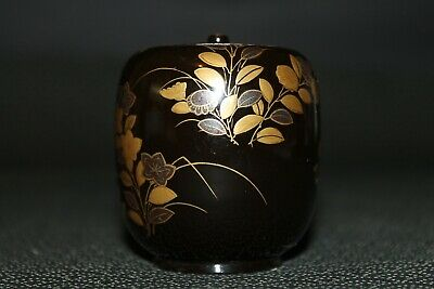 VTG Japanese wooden lacquer Gold makie Natsume tea caddy w/box from Japan b098 3