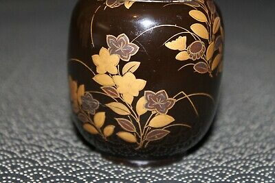 VTG Japanese wooden lacquer Gold makie Natsume tea caddy w/box from Japan b098 7