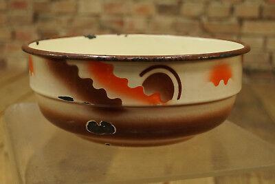 Vintage Esmaltada Tazón de Fuente Cuenco Frutero Cuenco Decorativo Esmalte 50er 4