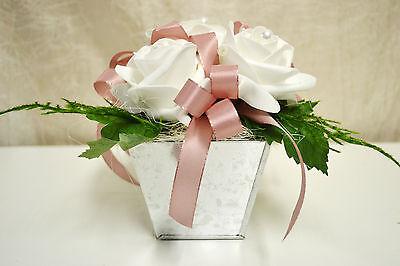 Tischdeko Weiss Rosa Kunstblumen Blumen Gesteck Hochzeit Taufe