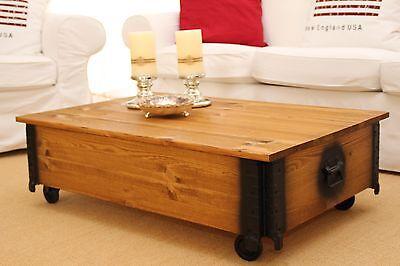 Couchtisch Truhe Wohnzimmertisch Sofatisch Holz Massiv Vintage