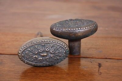 Pair Vtg Antique Door Knobs Handle Set Oval Ornate Architectural Salvage Shabby
