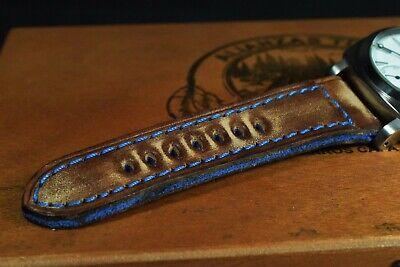Correa Reloj Genuino Cuero Vintage Apta Panerai Etc Ma Strap Colorum Marron Azul 9