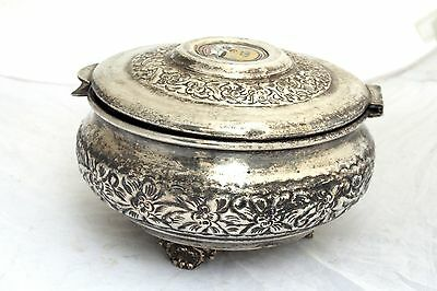 Vintage Arabian Military Silver Plated Box Coat of Arms Soldier Army Islamic 3
