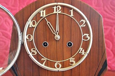 Vintage Art Deco English 8-Day Striking Mantel Clock with German Movement 2