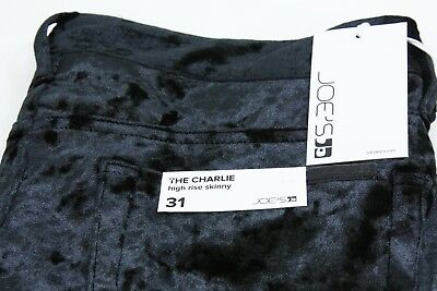 Joe/'s Jeans The Charlie High Rise Skinny Velvet Jeans BLACK Size 25 New w Tags