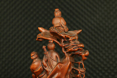Chinese old boxwood  hand carving Eight Immortals statue noble decoration gift 6