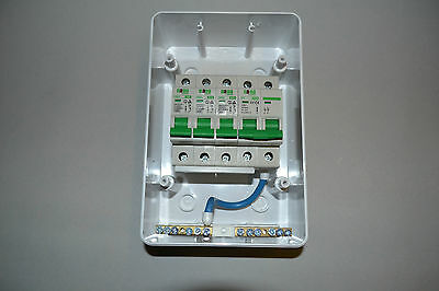 3 Way garage,shed consumer unit/fuse box,isolation switch and 3 MCB's 2