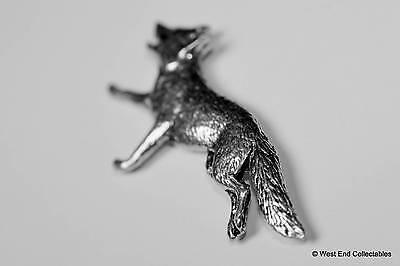 Heulender Wolf Zinn Brosche Holz Grau Hund Wolf Hand Gefertigt Britisch