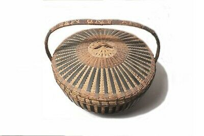 """VINTAGE 18"""" 1940's CHINESE BAMBOO & CANE HAND WEAVED BASKET w LID NAME on HANDLE 2"""
