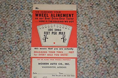 Modern Auto Washington Mo >> Vintage 1960 S Bear Wheel Alinement Automotive Service Card