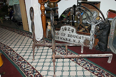 Antique Cast Iron Fireplace Andirons-Unusual Twisted DNA Strand-Large Andirons 3