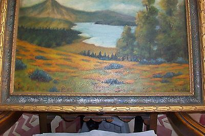 Antique ORIGINAL OIL ART PAINTING~E.Platt~RARE Mission Deco Frame Cadillac Maine 8