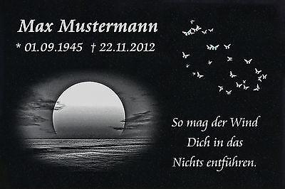 Grabstein Grabplatte Grabmal Wunsch Gravur + Doppelstütze aus Granit 30x20x1 cm 8