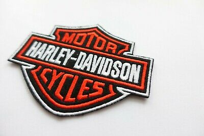 Harley Davidson Classic Orange Logo Sew-on Patch (Small)  embroidery white outli 2