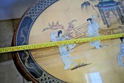 Vintage Asian Black Gold Leaf Mother of Pearl Oval Coffee Table & Five stands 6