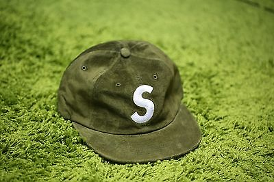 SUPREME SUEDE S LOGO 6-PANEL CAP HAT OLIVE FW16 2016