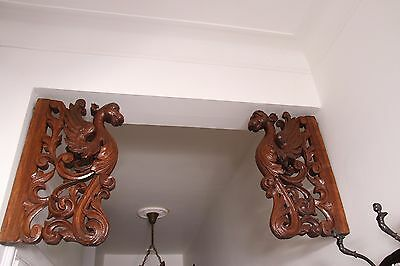 19C French Winged Griffin Gargoyle Pair Corbels 2