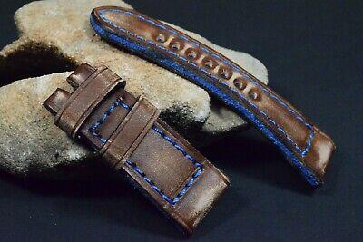 Correa Reloj Genuino Cuero Vintage Apta Panerai Etc Ma Strap Colorum Marron Azul 8