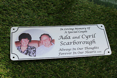 remembrance bench plaque photo memorial, 200mm x 75mm, metal, aluminium 10