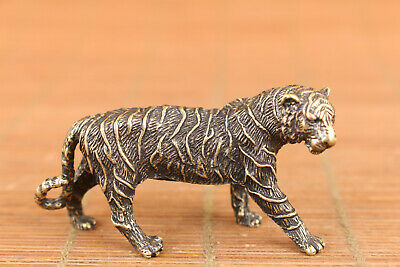 rare chinese old bronze art tiger statue figure collectable good stand 8