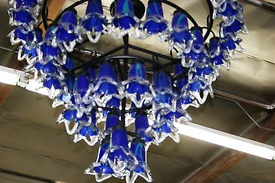 Art Deco Style 4 Level Wrought  Iron Chandelier & 54 Flowing Blown Glass Shades 2