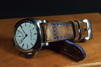 Correa Reloj Genuino Cuero Vintage Apta Panerai Etc Ma Strap Colorum Marron Azul 11