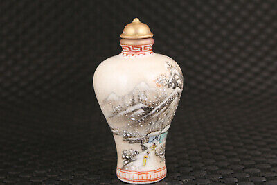 Chinese old porcelain Handpainted snow-covered landsca snuff bottle collectible 2