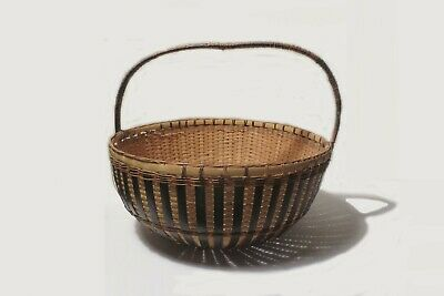"""VINTAGE 18"""" 1940's CHINESE BAMBOO & CANE HAND WEAVED BASKET w LID NAME on HANDLE 9"""