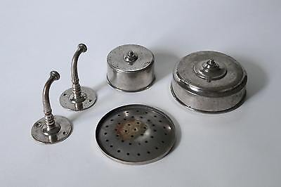 antique bathroom cup soap holder | vtg brass nickel victorian bath tumbler 7