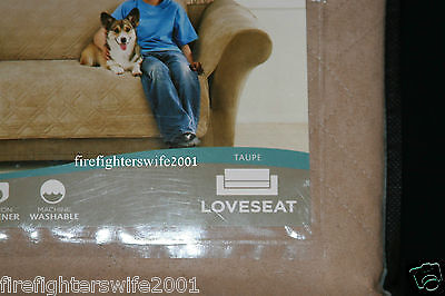 Fabulous Sure Fit Quilted Suede Loveseat Cover One Piece Taupe Beatyapartments Chair Design Images Beatyapartmentscom