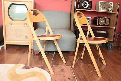 ... Pair of Vintage Wooden Folding Chairs with Vinyl Seat - PAIR OF VINTAGE Wooden Folding Chairs With Vinyl Seat - $133.20