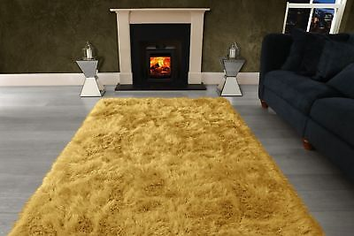 Ochre Yellow Large SHAGGY Floor RUG Soft SPARKLE Shimmer Extra Thick 9cm Pile 6