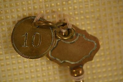 Collection of Antique Hotel Room Keys! Mounted & NICE! w/ LELAND HOTEL KEY! 9