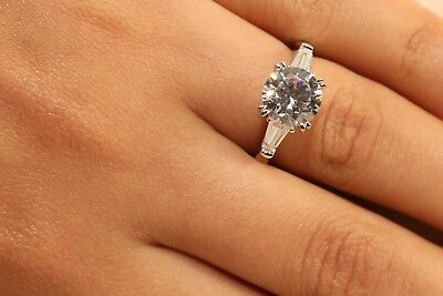 2 Ct Round Cut Diamond Solitaire Engagement Ring 14K White Gold Enhanced 3