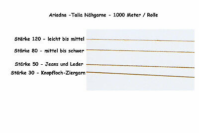 Nähgarn 1000m/Rolle Nähseide Jeansgarn Ledergarn Ziergarn Stärke 30 50 80 120 2