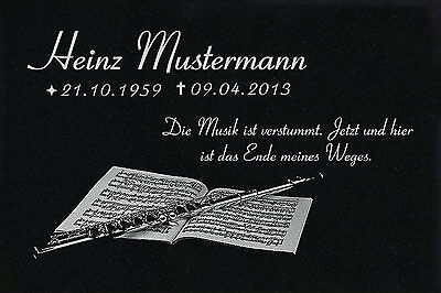 Grabstein Grabplatte Grabmal Wunsch Gravur + Doppelstütze aus Granit 30x20x1 cm 7