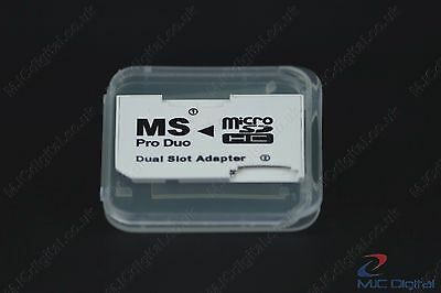 Memory Card Dual 2 Slot Adapter Micro SD TF to MS Pro Duo PSP  in a BOX, HQ 4