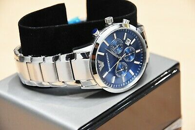 New Genuine Emporio Armani Mens Ar2448 Watch Blue Dial Stainless Steel £319 Rrp 5
